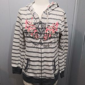 Miss Me Striped Beaded Zip Up Jacket